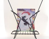 vintage magazine rack holder storage black metal wire office chic home decor mid century modern swank atomic style
