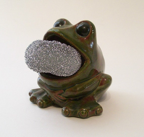 Frog scrubbie sponge holder for your sos pad not your lilypad - Frog sponge holder kitchen sink ...
