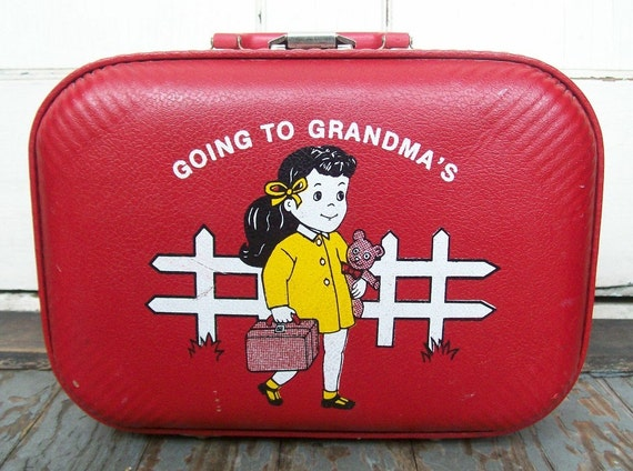 Going to Grandma's House . Hard Shell Suitcase . Childrens Lttle Girl . Cherry Red