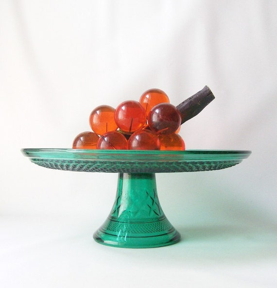 modern retro home decor cake stand vintage green glass footed pedestal ...