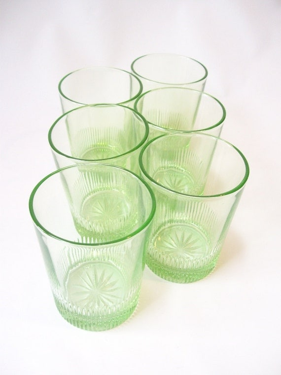 Glassware vintage depression glass green starburst water - Starburst glassware ...