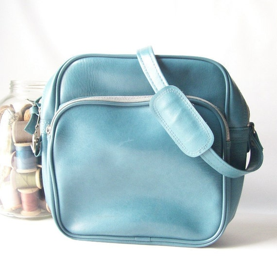 vintage carry on bag overnight tote weekender in fresh aqua blue pan am style