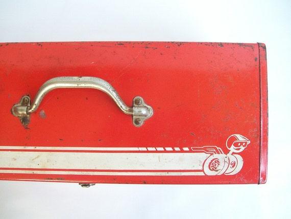 vintage red metal tool box retro storage tote auto mechanics large speed racer design modern style men man
