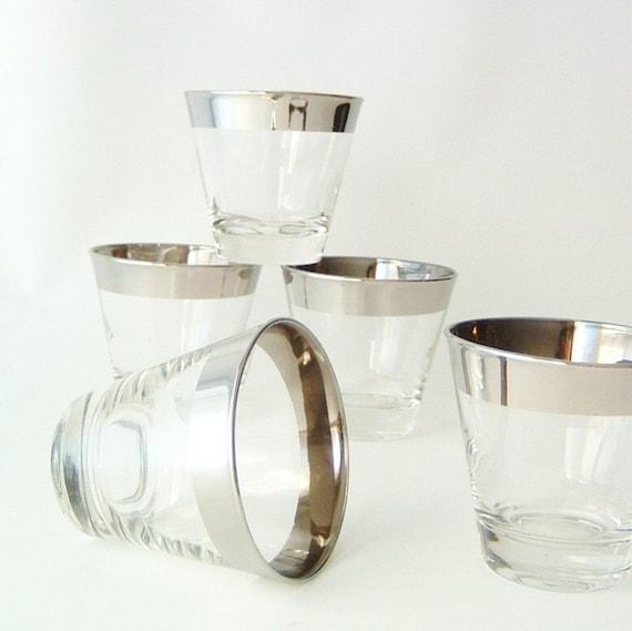 vintage glassware whiskey glasses silverband silver rim retro modern mad men pan am entertaining urban kitchenware home decor style trends
