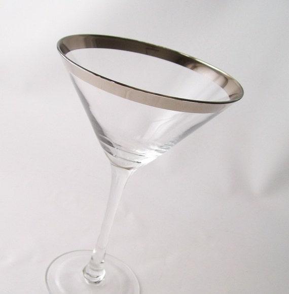 vintage stemware glassware martini glass set celebration party entertaining barware mid century modern silver band mad men style trends