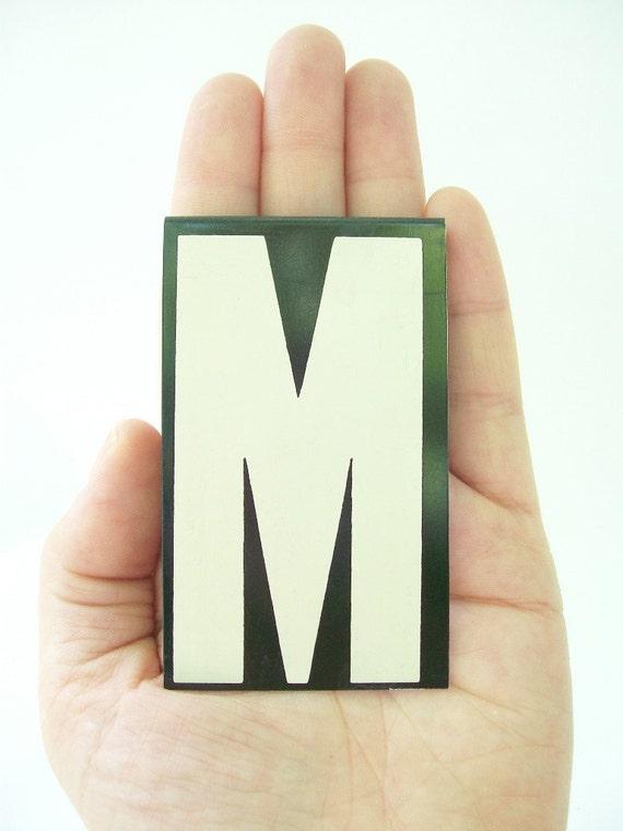 vintage letter M enamel metal sign hanging black and white personalized monogram modern text type font large big