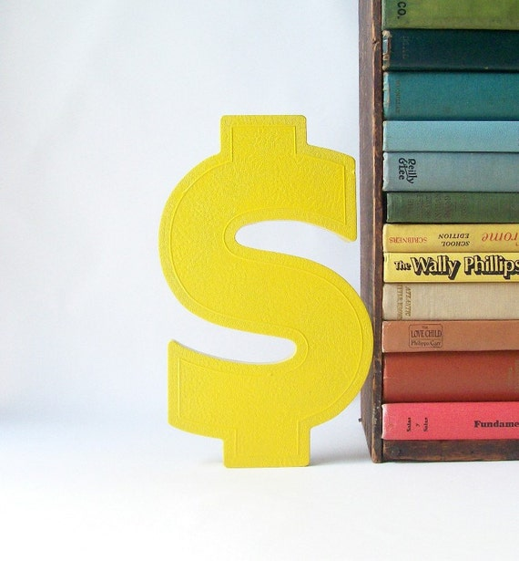 salvaged upcycled vintage marquee sign letter S symbol business signage industrial modern wall hanging home decor yellow money cash dollar