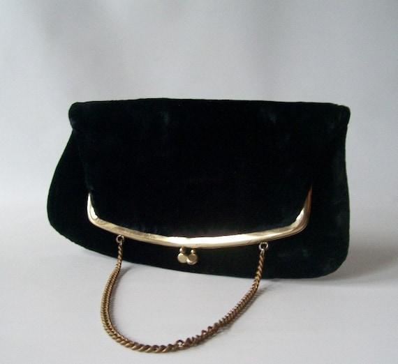 Vintage Purse Black Velvet Formal Clutch Evening Bag Gold