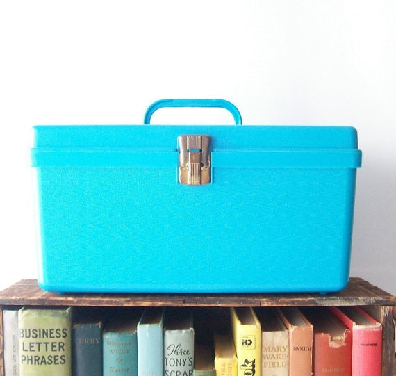 vintage storage box bright aqua turquoise blue bright sewing crafts tote container with tray home decor housewares