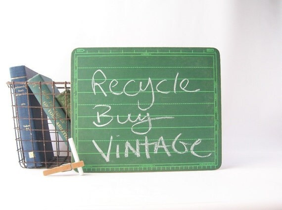 vintage chalkboard green memo board green school slate classroom retro repurpose home decor chalk board notes office chic style eco