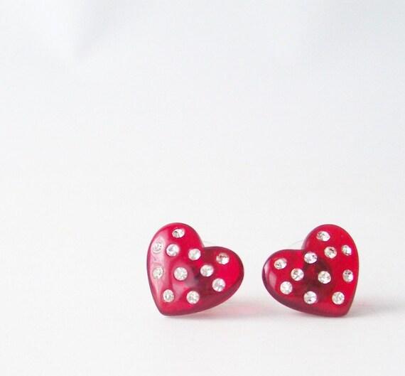 vintage red heart white rhinestone earrings crystals polka dot love sparkles retro fashion women lucite