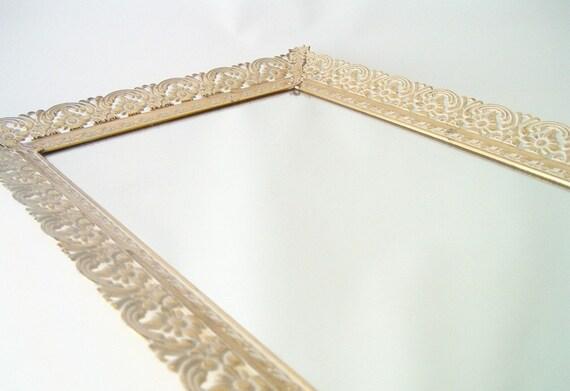 RESERVED FOR TANA 9/28 vintage vanity mirror tray dresser gold filagree flowered mid century modern hollywood regency glam romantic romanc
