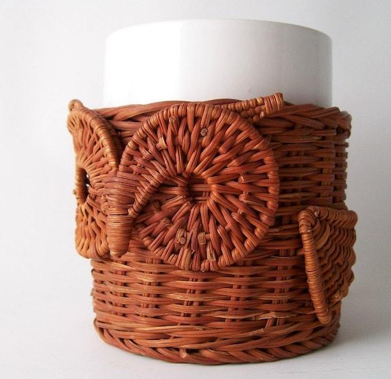 vintage owl mug big eye rattan mug holder decorative retro office chic mid century modern bohemian boho white brown