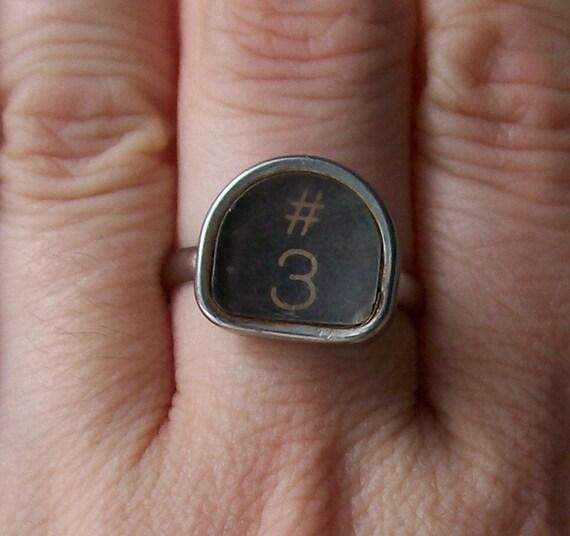 number 3 vintage typewriter key ring pound symbol three black silver statement ring modern retro fashion personalized