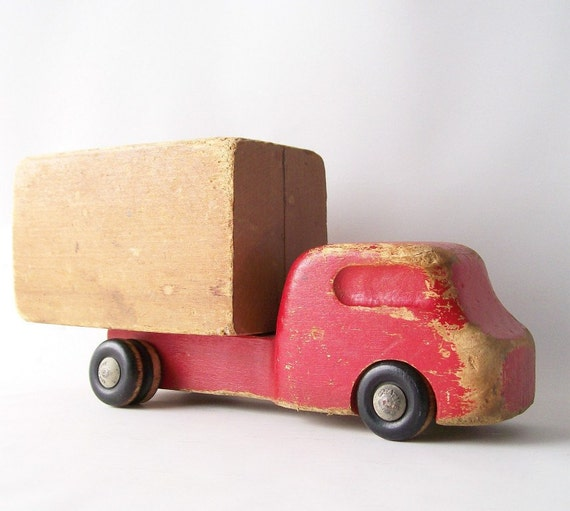 vintage wood truck toy car home decor childs children kids learning educational shelf display prop red natural wood