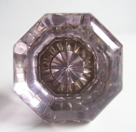 Reserved For Tristan Glass Door Knobs Vintage Amethyst Purple