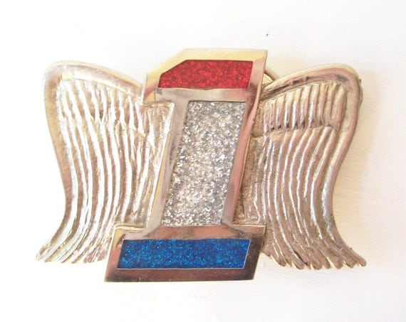 vintage belt buckle usa wings number 1 one american eagle red, white & blue silver chrome modern motorcycle biker men harley davidson retro