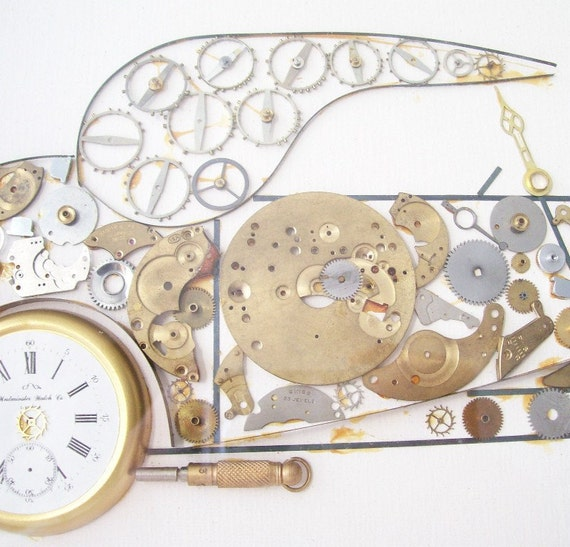 vintage kersh car wall hanging assemblage watch clock parts steampunk artwork framed home decor rolls royce coupe gold white