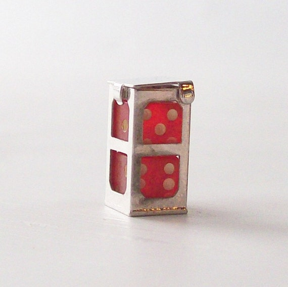 vintage sterling silver dice mini charm red lucite retro fashion jewelry accessory for bracelets & necklaces old school style lucky casino