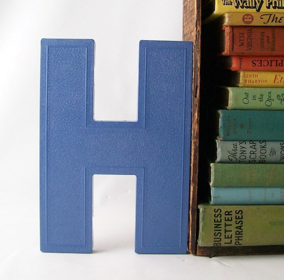 letter H marquee sign vintage salvaged upcycled business signage industrial modern wall hanging home decor blue initial personalized
