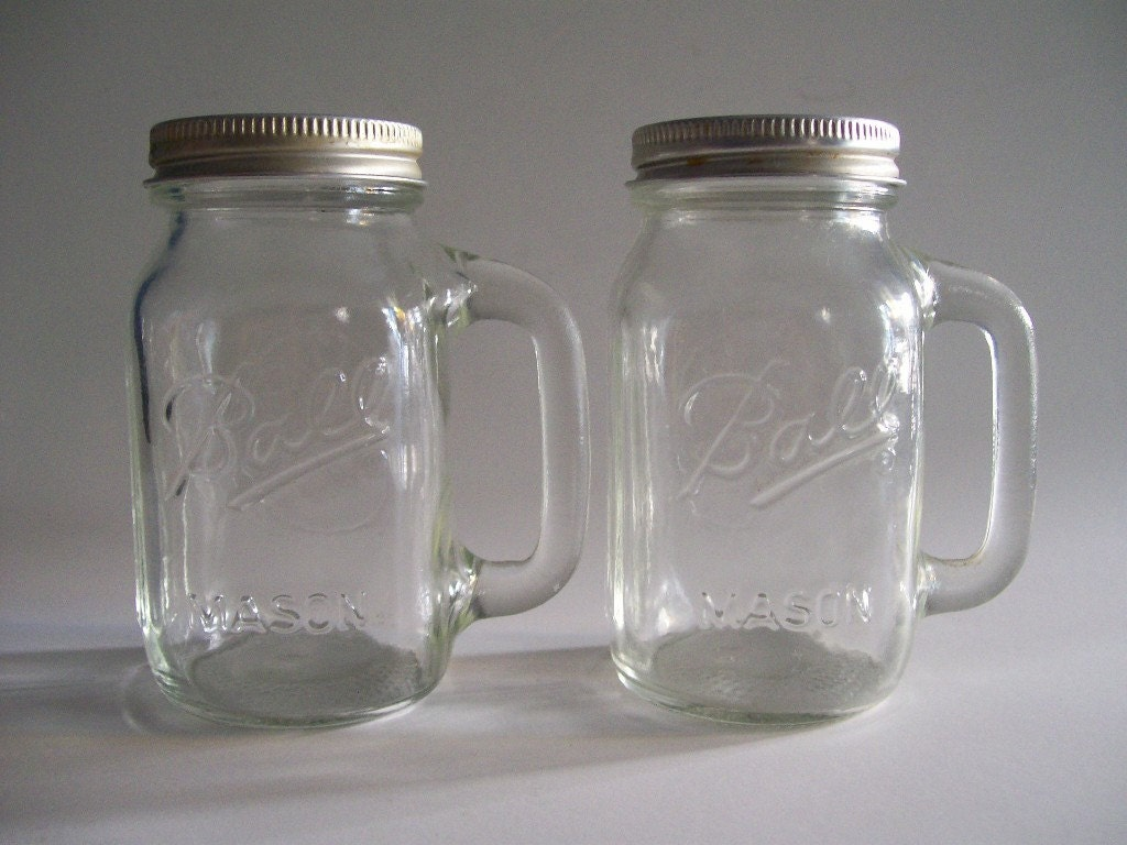 Ball Mason Jar Glass Salt And Pepper Shakers Set