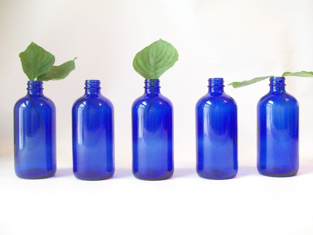 Vintage cobalt blue glass bottle retro home decor apothecary - Cobalt blue bathroom accessories ...