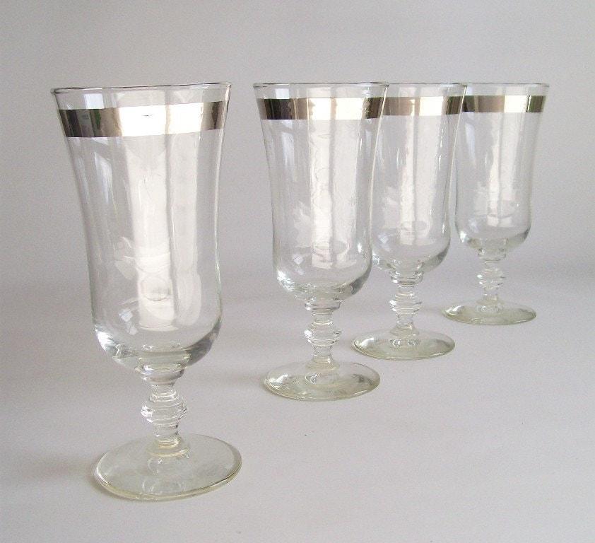 Glassware Vintage Glasses Silver Band Parfait Glass