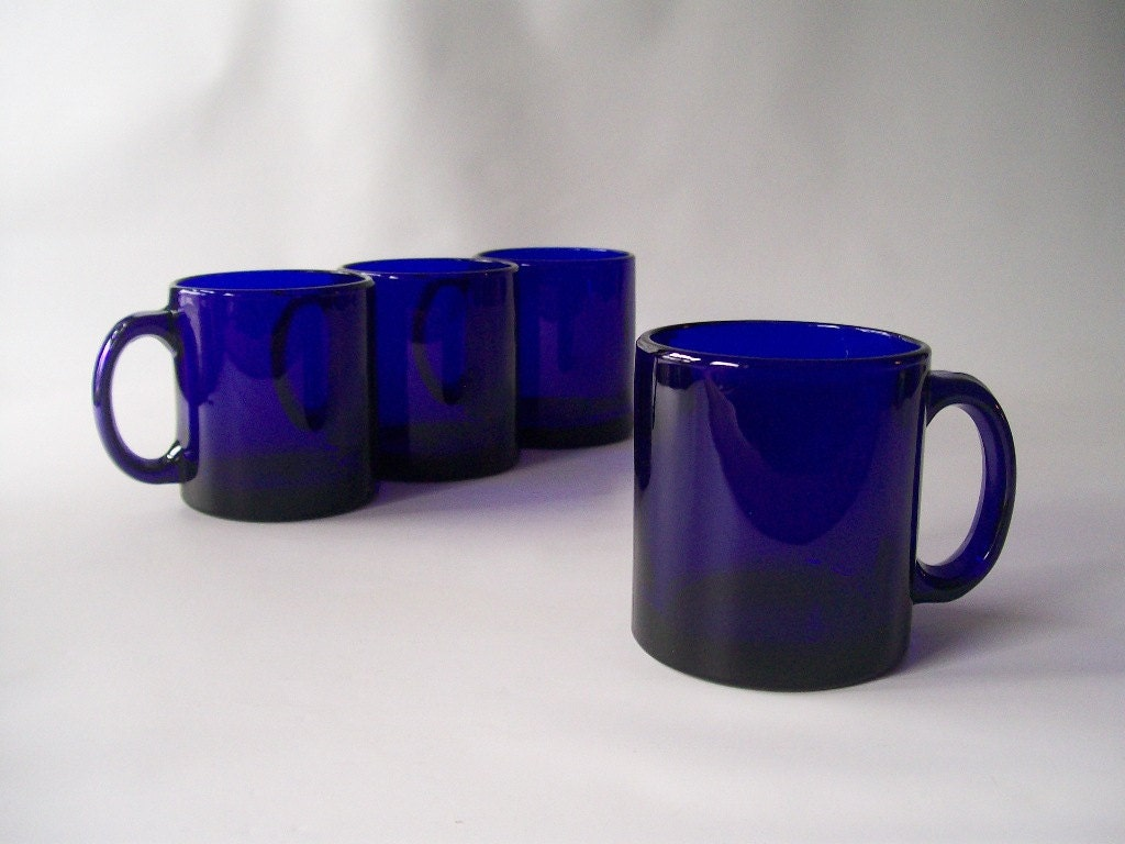 Vintage Cobalt Blue Glass Coffee Mugs Made By