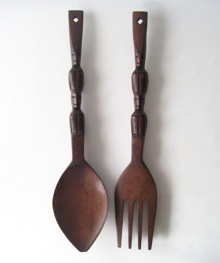 Vintage Wooden Fork And Spoon Wall Hanging Carved Mahogany