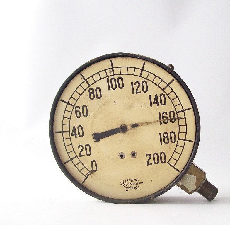 Vintage industrial pressure gauge home decor modern steampunk - Steampunk pressure gauge ...
