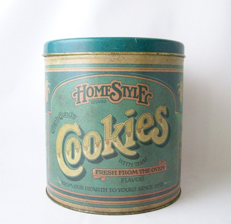 Vintage Homestyle Cookies Tin Container Storage Canister Large