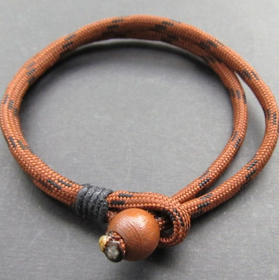 Mens chocolate and black double strand paracord bracelet with