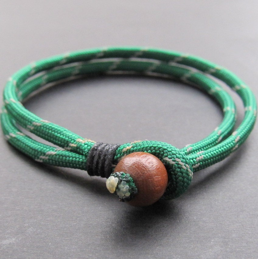Mens green and white double strand paracord bracelet with