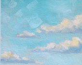 Oil Landscape Painting, ready to hang - South Dakota Sky - 6x12