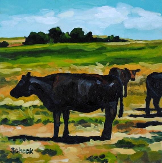 Dakota Cow - Original Oil Painting - 6x6