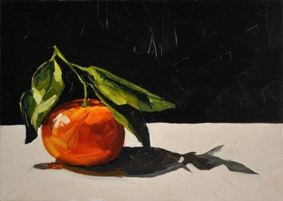 Tangerine with Stem II - Still life oil painting - 5x7