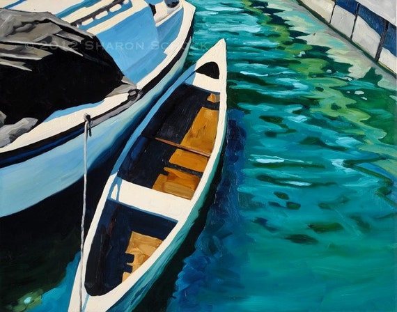 Nautical Art Oil Painting - Santa Barbara Harbor XXIV - 11x14 Original painting by Sharon Schock