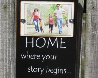 4X6 Picture Frame Wood Frame Black White Country Primitive Home Where Your Story Begins