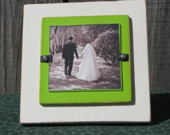 4X4 Picture Frame Distressed Wedding Frame Wood Frame White Green Cottage Chic