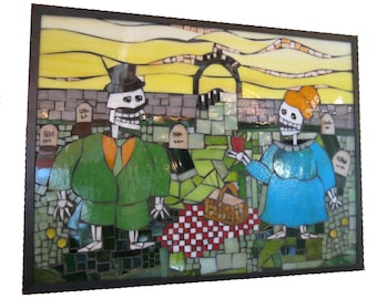 Meet Me By the Cemetery Gates Glass Mosaic Skeleton Picnic