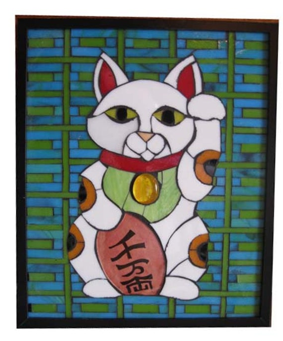 Maneki Neko Lucky Cat Art Glass Mosaic