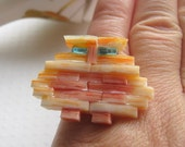 Stained Glass Mosaic Orange Owl Ring