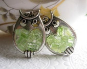 Stained Glass Peridot Owl Earrings - AimeezArtz