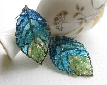 Stained Glass Blue Leaf Earrings Long Leaf Earrings Silver Filigree Sea Blue Green Peridot Mosaic Jewelry Christmas Gift Boho Earrings