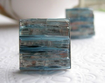 Silver Blue Cuff Links, Stained Glass Mosaic Cufflinks, Something Blue, Wedding Attire, Anniversary Gift for Men
