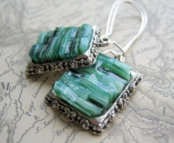Jade Green Stained Glass Mosaic Earrings