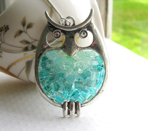 Stained Glass Owl Pendant Owl Necklace Large Big Owl Aquamarine Crystal Owl Antiqued Silver Owl Jewelry Blue Green Rock Candy Crushed Glass