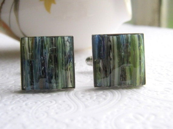 Green Olive Cuff Links, Marble Inlay Jewelry for Men, Stained Glass Accessories, Eco Friendly, Recycled Glass Cufflinks, Striped Cuff Links
