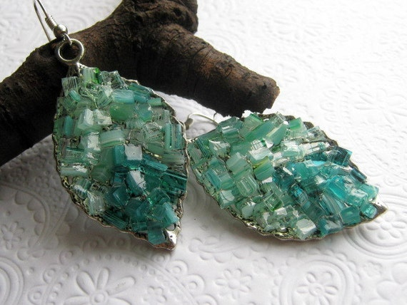 Stained Glass Aquamarine Earrings