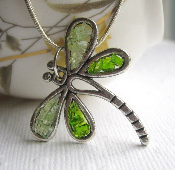 Stained Glass Dragonfly, Green Dragonfly, Dragonfly Pendant, Woodland Necklace, Dragonfly Necklace